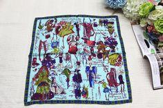 100% silk scarf, women Square scarf,Material:twill silk, size:50x50,Thickness 12mm Azure Fashion dress