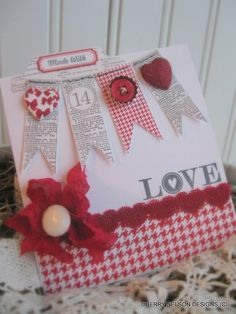 vintage style valentine 14 card- heart banner card- MADE WITH LOVE card- handmade card