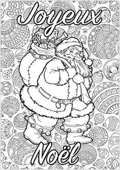 Père Noël à colorier, avec fond plein de motifs, et texte 'Joyeux Noël' | A partir de la galerie : Noel
