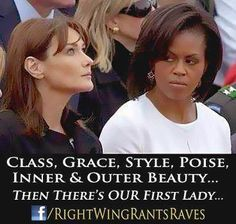 Then there is Michelle Obama .....same Nasty Look at the Mandela Funeral Gala, think she likes Pretty White Women , or for that fact, any woman with class and dignity? Not in this lifetime. Low life is as classless as they come. No amount of wealth or STOLEN priveledge can buy class. In that department she is eternally impoverished.