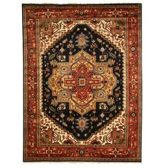 Shop for EORC Hand Knotted Wool Navy Serapi Rug (9' x 12'). Get free shipping at Overstock.com - Your Online Home Decor Outlet Store! Get 5% in rewards with Club O!