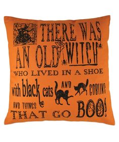 "Witch Poem Pillow | Bethany Lowe Halloween Pillows |  ""There was an old witch who lived in a shoe"""