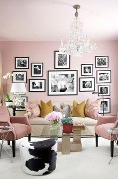 I am loving the black & white photos in black frames against the pale pink wall... now, what room can I do this in?