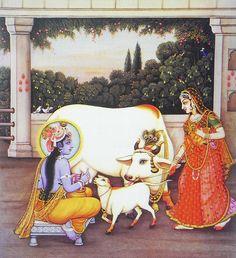 Krishna Milking cow with Radha Nearby (Reprint on Paper - Unframed) Bal Krishna, Cute Krishna, Krishna Art, Krishna Lila, Shree Krishna, Radhe Krishna, Pichwai Paintings, Mughal Paintings, Indian Art Paintings