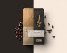 "The coffee shop is located in Saudi Arabia. The logo and font were created from the same grid, having the best harmony.I used the elements based on the ""senses"" for the symbol: an arabic hamsá, a hand and the coffee. Coffee Label, Coffee Logo, Coffee Poster, Coffee Branding, Coffee Packaging, Food Packaging Design, Packaging Design Inspiration, Branding Design, Coffee Shop Japan"
