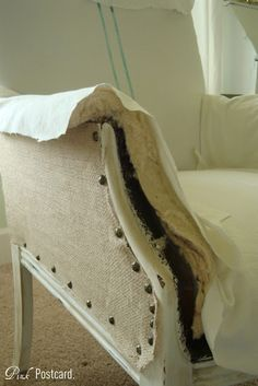 slipcovering a chair