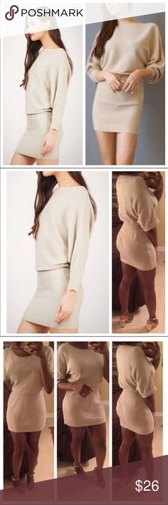 Creamy Beige Draped Sweater Dress Barely worn, sewn with silver metallic stitching. This gives it a glitter sparkle. Can be worn with pants or by itself as a dress, or with tights. Stretches. Very soft. Flawless condition. Light beige cream color. Scrunched waist. For reference, I'm 5'2. If you love these brands: 🌸  zara 🌸  brandy melville 🌸  bebe 🌸  asos 🌸  banana republic 🌸  J. crew You will love this! Express Tops