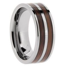 Men's Ring, Tungsten Double Wood Silver Pipe, High Polish