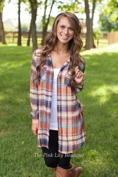 Taste Of Country Plaid Button Up Rust - The Pink Lily Boutique