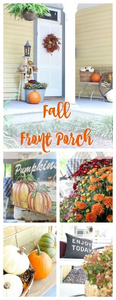 Fall Front Porch - Fall Decor. Pumpkins, mums, vintage fall decor.Jenn's Home - 2 Bees in a Pod