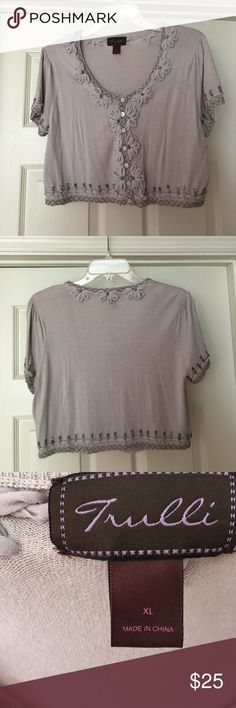 Trulli Beaded Sweater Saw it. Loved it. Bought it. Hung it in closet. Never worn it. Beautiful crop light weight sweater looking for someone who will wear it. trulli Sweaters Shrugs & Ponchos