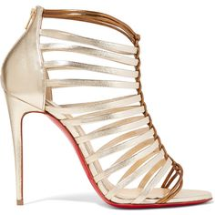 Christian Louboutin Milla 100 metallic leather sandals ($965) ❤ liked on Polyvore featuring shoes, sandals, heels, louboutin, leather sandals, white leather sandals, strap heel sandals, high heeled footwear and white high heel sandals