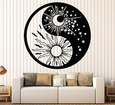 Moon wall art is not only trendy, cute and modern but it is the symbol of eternity, femininity and timelessness. You can use moon wall art in all rooms of your home and it makes a fantastic gift for anyone who loves astrology, nature, and astronomy  Vinyl Wall Decal Yin Yan Symbol Sun Moon Buddhism Stars Day Night Stickers Large Decor (1135ig) Black