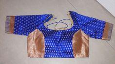 Rawsilk butti wid orange bnarsi brocade designer blouse