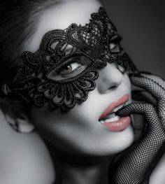 He would not soon forget her, the masked woman.a Masquerade Beauty and Seductive Temptation ~*~moonmistgirl~*~ Lace Mask, Mask Girl, Beautiful Mask, Masquerade Party, Black And White Photography, Color Splash, Halloween Face Makeup, Beauty, Women