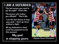 """Soccer Photo Alex Morgan-Sydney Leroux Photo Quote Poster Wall Art Print 11x14"""" I Am A Defender  My Goal Is To Stop Yours - Free USA Ship"""