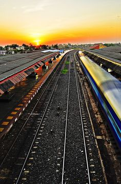 Train leaving from a station in South India  .... flanked by the setting Sun in the distant horizon.