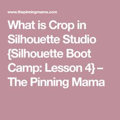 What is Crop in Silhouette Studio {Silhouette Boot Camp: Lesson 4} – The Pinning Mama