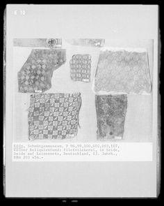 13th century lacis/filet lace Medieval Embroidery, Medieval Crafts, Century Textiles, 14th Century, Fiber Art, Needlework, Embellishments, Weaving, Historical Dress