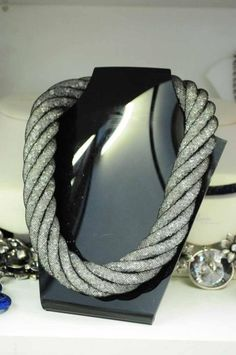 Heavy mesh/crystal rope necklace.  Lush Boutique.