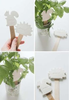 signs for veggies - using a cookie cutter, concrete, and a stamper. Too small?