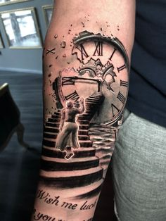 Stairs Clock Tattoo by Roberto. Limited availability at Redemption Tattoo Studio… Stairs Clock Tattoo by Roberto. Limited availability at Redemption Tattoo Studio. Time Clock Tattoo, Clock Tattoo Sleeve, Full Sleeve Tattoo Design, Tribal Sleeve Tattoos, Best Sleeve Tattoos, Clock Tattoos, Dove Tattoos, Hand Tattoos, Clock Tattoo Design