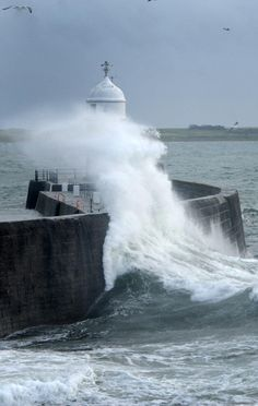 Castletown breakwater yesterday 14.12.12. Isle of Man Newspapers photographer, Mike Wade, took this shot.