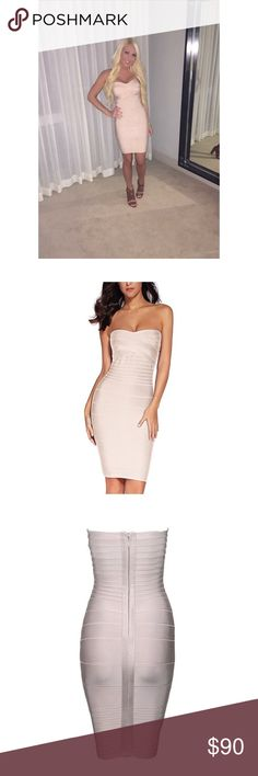 Beige Bandage Dress Beautiful beige bandage dress. Worn once & is in perfect condition. XS. True to size. Tight-fitting. Zip-up back. Strapless. Dresses Strapless
