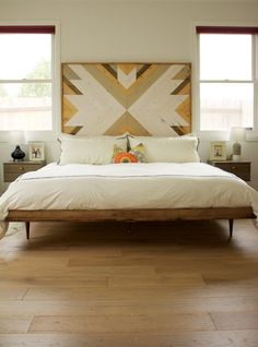 midcentury modern bed // wooden headboard