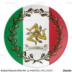 Sicilian Trinacria Olive Wreath Flag Personalize Plate  italian style decor dinner parties dinner plates dinnerware