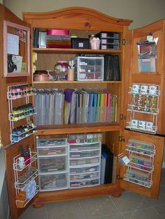 Craft closet from old entertainment center? Love!!!!
