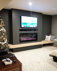 Wonderful Totally Free Fireplace Remodel tv above Concepts 45 Modern Fireplace Ideas, Remodel, and Decor in Living Room Fireplace Tv Wall, Basement Fireplace, Basement Living Rooms, Linear Fireplace, Fireplace Remodel, Modern Fireplace, Living Room Tv, Living Room With Fireplace, Fireplace Design