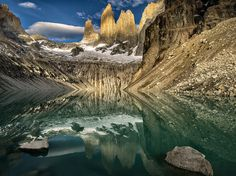 Photograph Base of the Towers reflections, Torres del Paine Nat Park, Chile, March 2014 by Ignacio Palacios on 500px