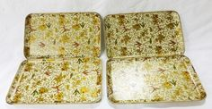 Vintage 1950's paper mache alcohol proof small trays made in japan lot of 4 bird
