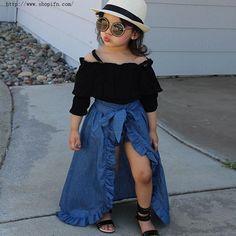 Bebé niñas conjuntos blusa   ropa interior   faldas 3 piezas Niña sólido azul falda con arco grande trajes nueva llegada ropa
