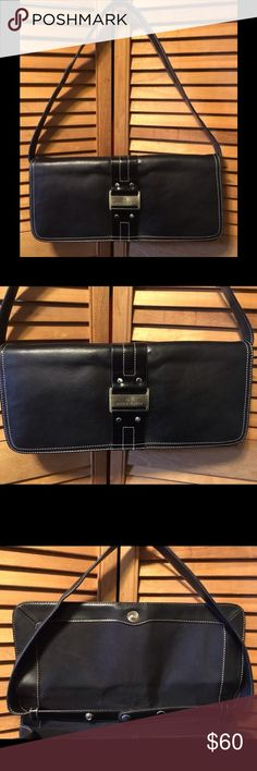 """Anne Klein Black Leather Shoulder Bag Black shoulder bag with silvertone hardware, a flap with snapped closure, adjustable shoulder strap that can be remove to turn the purse into a clutch, black cloth lining with a zippered pocket on one side and 2 open pockets on the other side. 14"""" wide X 6 1/2"""" tall X 2 1/2"""" wide bottom. NWOT. Anne Klein Bags Shoulder Bags"""