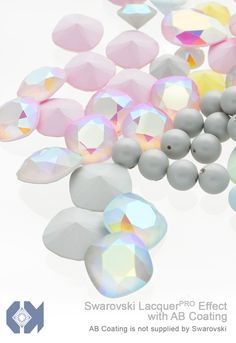 Exclusively from E.H. Ashley - Swarovski LacquerPRO Effect Crystal Powder Blue and Powder Rose with AB Custom Coating on articles #1088 accompanied by New Swarovski Crystal Pastel Pearl in Pastel Grey at www.ehashley.com #Swarovski #bling #crystals #lacquerpro #Blue #Rose #Pearls # Pastels