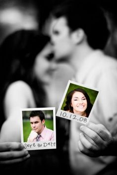 "Save the Date photo ideas- couple in black and white are holding photos of each other that are in color - one photo says ""save the date"" the other photo has the date"