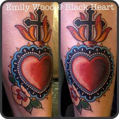 Sacred Heart by Emily Wood - Black Heart Tattoo Studio, Epsom, UK Emily Wood, Black Heart Tattoos, Sacred Heart, Get A Tattoo, Tattoo Studio, Skull, Ink, Tattoo Ideas, India Ink