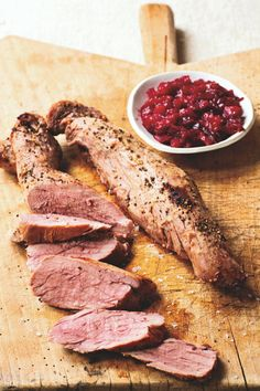 Cider-Roasted Pork Tenderloins With Roasted Plum Chutney