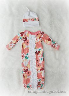 Baby Girl Ruffle Gown and Hat Infant Newborn by snugasabugclothes, $36.00
