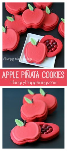 I hosted an apple harvest party and served Apple Piñata Cookies, a Rice Crispy Treat Apple Tree filled with Candy Apple M&M's®, Berry Apple Fruit Snacks and more! You have to try these fun treats! Pinata Cookies, Fun Cookies, Sugar Cookies, Sweets Recipes, Apple Recipes, Cookie Recipes, Desserts, Juice Flavors, Apple Cookies