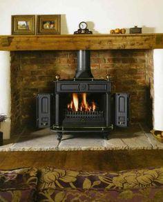 woodburner in stone inglenook style fireplace Wood Stove Surround, Wood Stove Hearth, Stove Fireplace, Wood Burner, Fire Surround, Open Fireplace, Hearth Stone, Brick Hearth, Electric Fireplace