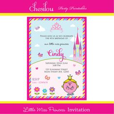 Customized Little Miss Princess Printable Birthday Invitation