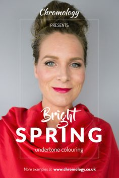 Personal Colour Analysis Client – Bright Spring colouring in the SciART seasonal colour analysis system. Makeup based on Bright Spring skintone. Bright Spring, Clear Spring, Clear Winter, Warm Spring, Spring Color Palette, Spring Colors, Color Palettes, Seasonal Color Analysis, Dull Hair