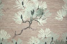 1940's Vintage Wallpaper  Pine Branches with by HannahsTreasures