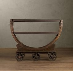 amaaaazing wood and iron wallpaper factory cart - use for a bar...