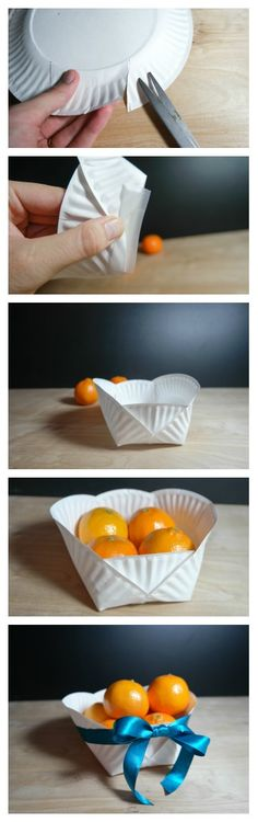 Paper plate craft - create a gift basket! This would make a really good kids craft.