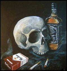 A modern interpretation of memento mori. Jack Daniels, Still Life Artists, Still Life Drawing, Skull And Bones, Memento Mori, Skull Art, Tattoo Studio, Art Lessons, Cool Pictures