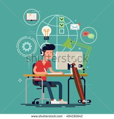 Creative work concept vector background with young adult man working on idea behind his desk listening music wearing headphones with creative process icons on background. Designer at work illustration - stock vector